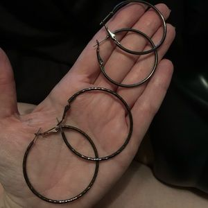 Hoop Earrings Gunmetal